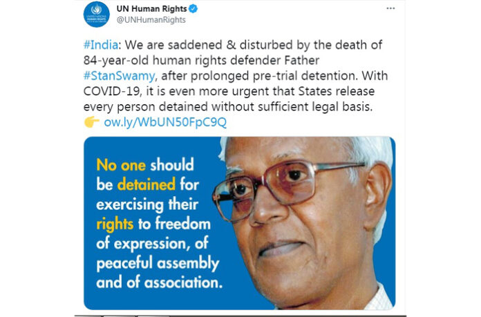 stan swamy india democracy united nations human rights activist Jesuit